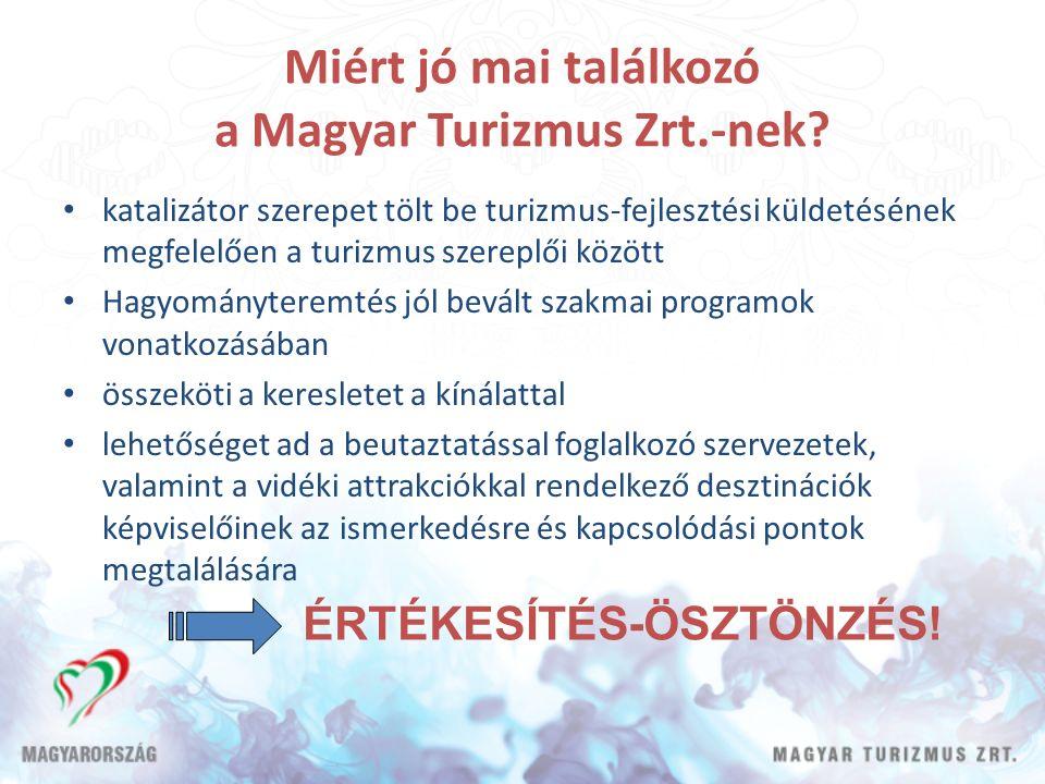 Miért jó mai találkozó a Magyar Turizmus Zrt.-nek? katalizátor szerepet tölt be turizmus-fejlesztési küldetésének megfelelően a turizmus szereplői köz