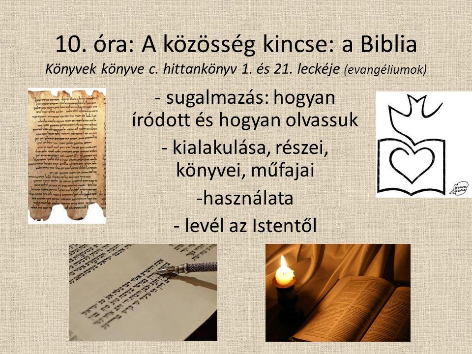 10. óra: A közösség kincse: a Biblia Könyvek könyve c.