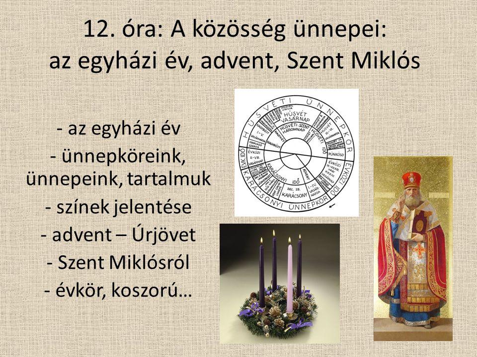 12. óra: A közösség ünnepei: az egyházi év, advent, Szent Miklós - az egyházi év - ünnepköreink, ünnepeink, tartalmuk - színek jelentése - advent – Úr