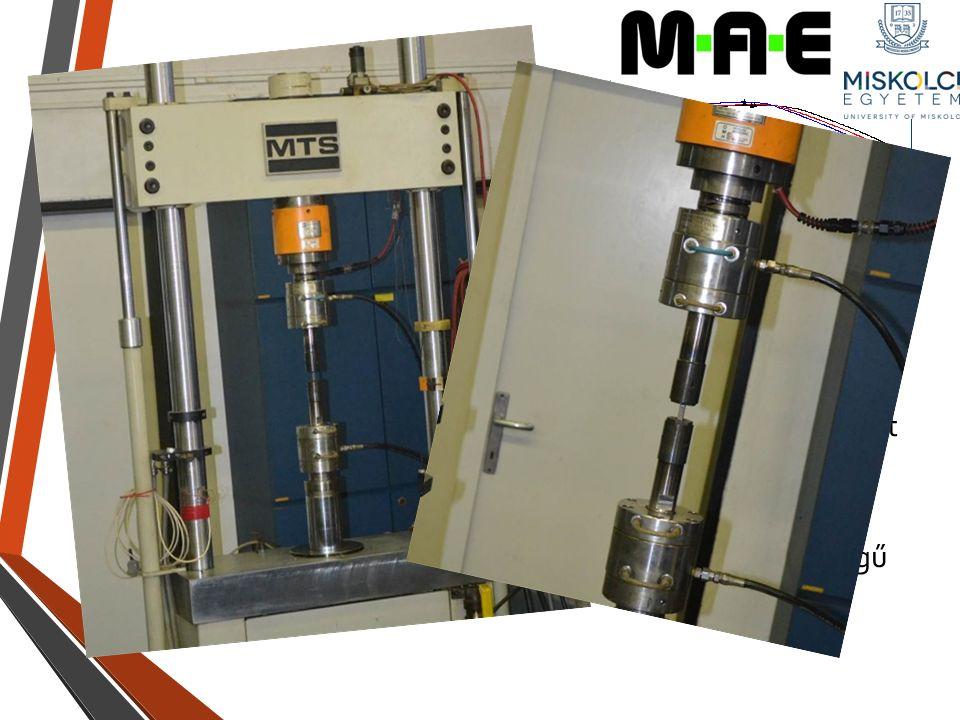 Fárasztási program Kiinduló pont a szakítószilárdság ez átlagosan 1247 Mpa ME-GÉIK Anyagtechnológiai Intézet Mechanikai Anyagvizsgáló laboratóriumának MTS típusú elektronikus vezérlésű hidraulikus fárasztó berendezést használtam.