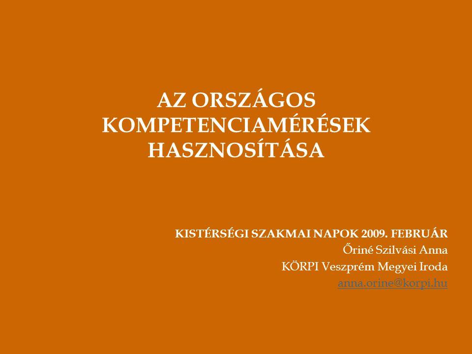 AZ ORSZÁGOS KOMPETENCIAMÉRÉSEK HASZNOSÍTÁSA KISTÉRSÉGI SZAKMAI NAPOK 2009.