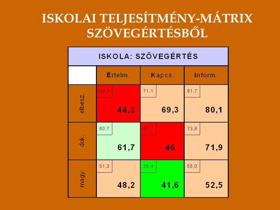 ISKOLAI TELJESÍTMÉNY-MÁTRIX SZÖVEGÉRTÉSBŐL