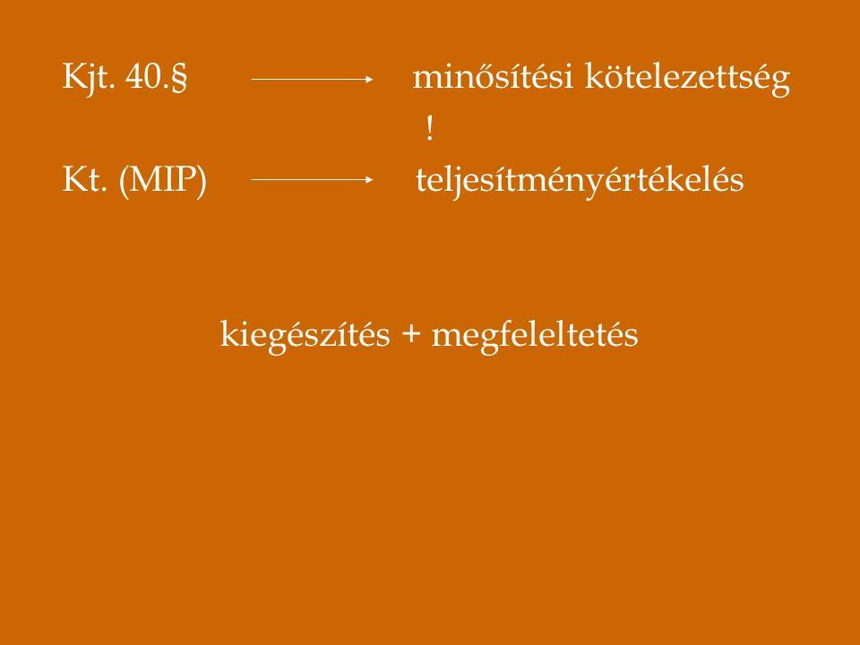 Kjt. 40.§ minősítési kötelezettség ! Kt. (MIP) teljesítményértékelés kiegészítés + megfeleltetés