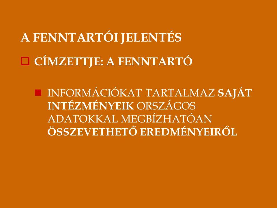 A FENNTARTÓI JELENTÉS  CÍMZETTJE: A FENNTARTÓ INFORMÁCIÓKAT TARTALMAZ SAJÁT INTÉZMÉNYEIK ORSZÁGOS ADATOKKAL MEGBÍZHATÓAN ÖSSZEVETHETŐ EREDMÉNYEIRŐL