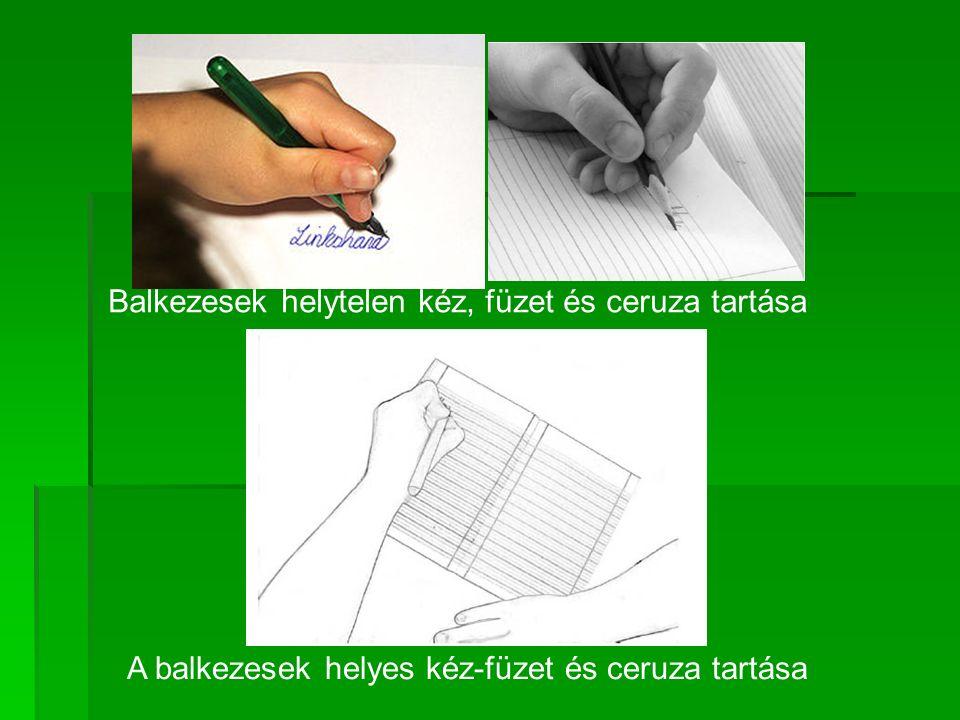Balkezesek helytelen kéz, füzet és ceruza tartása A balkezesek helyes kéz-füzet és ceruza tartása