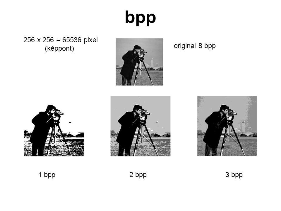 bpp original 8 bpp 1 bpp2 bpp3 bpp 256 x 256 = 65536 pixel (képpont)