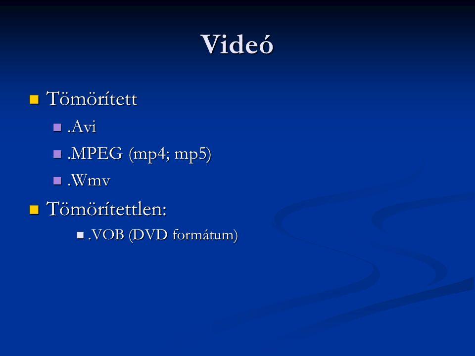 Videó Tömörített Tömörített.Avi.Avi.MPEG (mp4; mp5).MPEG (mp4; mp5).Wmv.Wmv Tömörítettlen: Tömörítettlen:.VOB (DVD formátum).VOB (DVD formátum)
