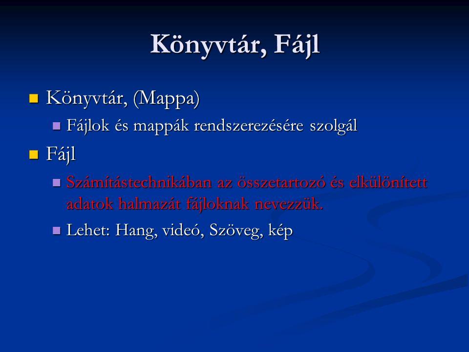 File név Fájlnév.kiterjesztés Fájlnév.kiterjesztés Pl.: Pl.: Szöveg.txt Szöveg.txt