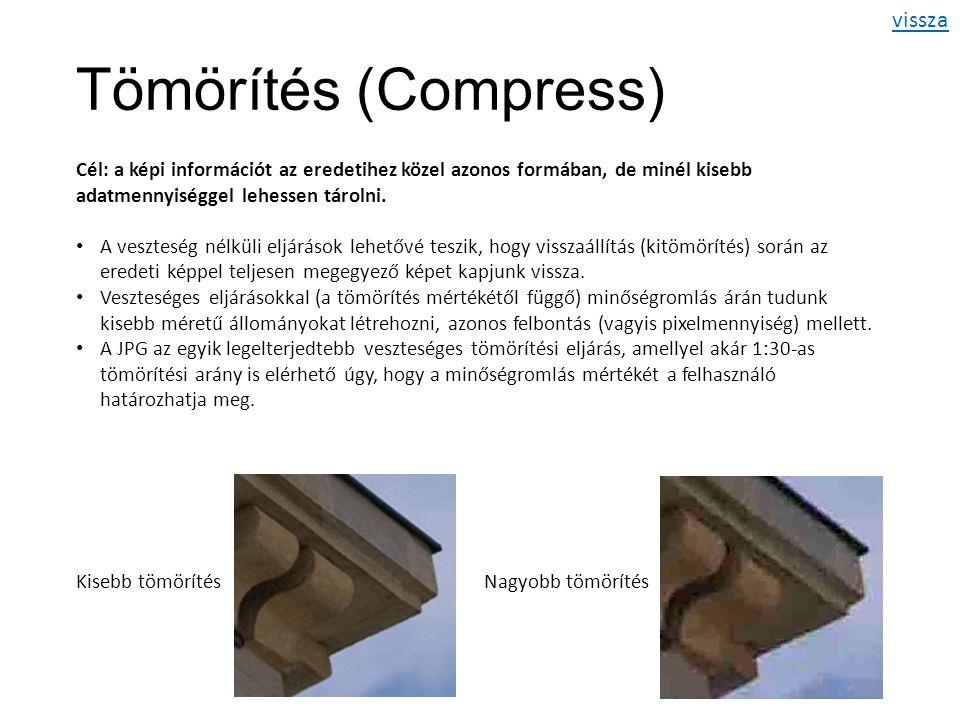 Tömörítés (Compress) Cél: a képi információt az eredetihez közel azonos formában, de minél kisebb adatmennyiséggel lehessen tárolni.