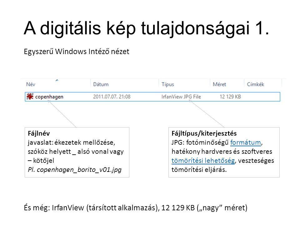 A digitális kép tulajdonságai 1.