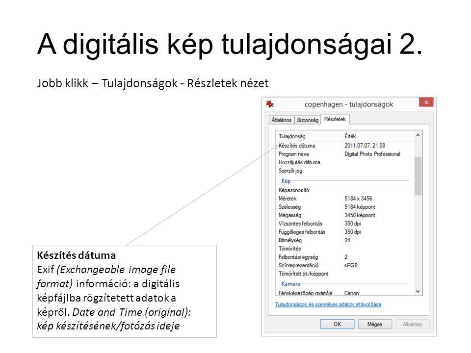 A digitális kép tulajdonságai 2.