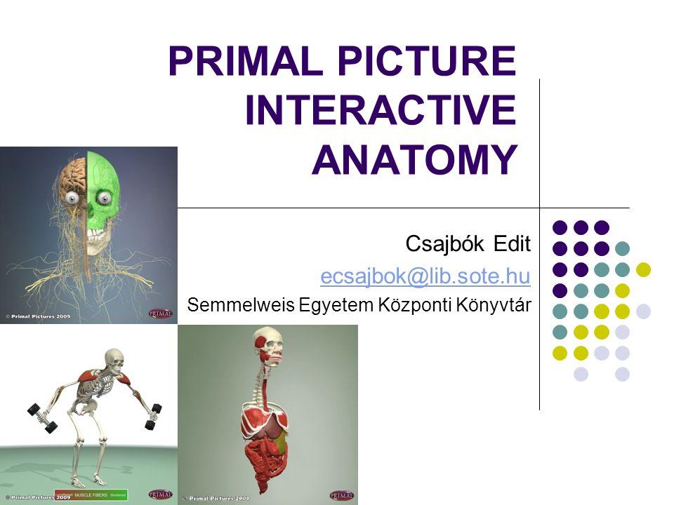 PRIMAL PICTURE INTERACTIVE ANATOMY Csajbók Edit ecsajbok@lib.sote.hu Semmelweis Egyetem Központi Könyvtár