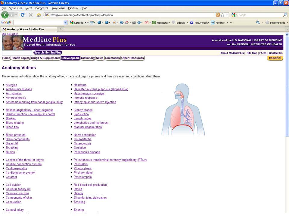 17 További anatómiai videó gyűjtemény MedlinePlus animációs anatómiai videó gyűjteménye: http://www.nlm.nih.gov/medlineplus/anatomy videos.html http://www.nlm.nih.gov/medlineplus/anatomy videos.html