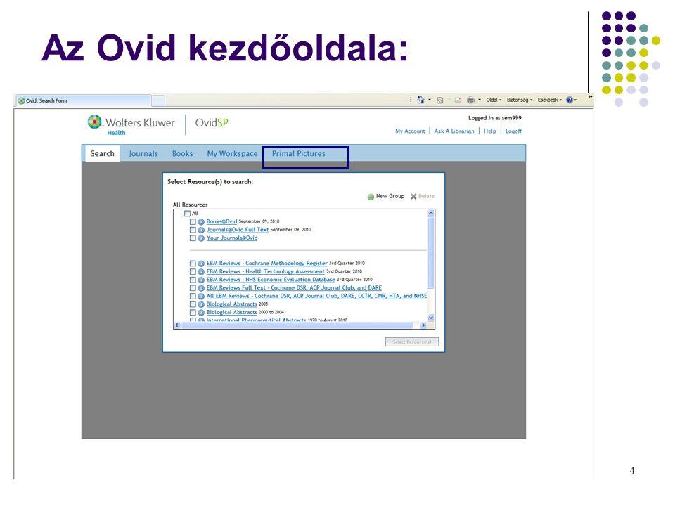 4 Az Ovid kezdőoldala: