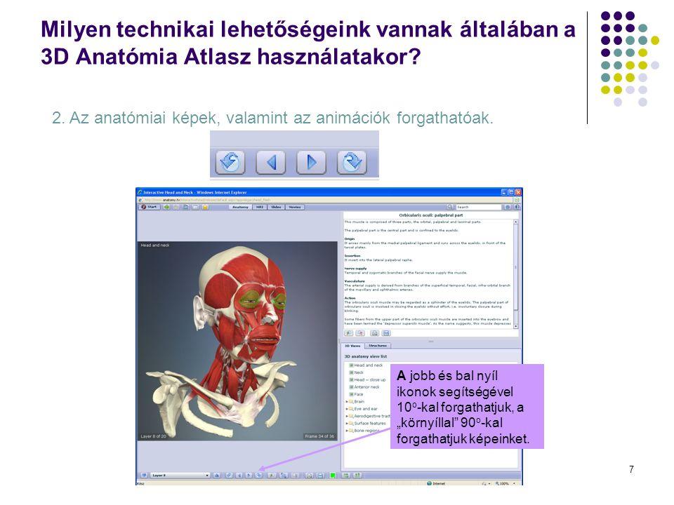 7 Milyen technikai lehetőségeink vannak általában a 3D Anatómia Atlasz használatakor.