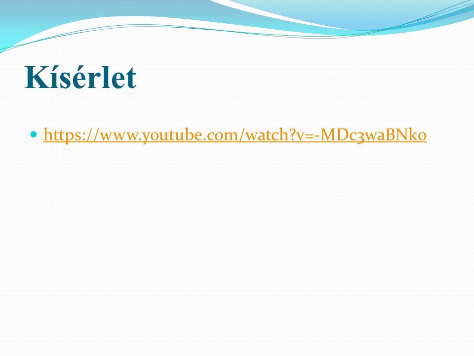 Kísérlet https://www.youtube.com/watch?v=-MDc3waBNk0