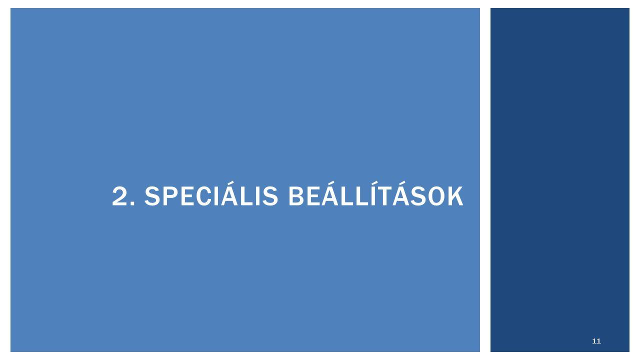2. SPECIÁLIS BEÁLLÍTÁSOK 11