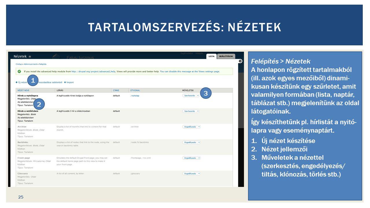 TARTALOMSZERVEZÉS: NÉZETEK Felépítés > Nézetek A honlapon rögzített tartalmakból (ill.