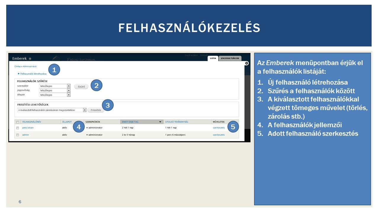 FELHASZNÁLÓKEZELÉS Az Emberek menüpontban érjük el a felhasználók listáját: 1.Új felhasználó létrehozása 2.Szűrés a felhasználók között 3.A kiválasztott felhasználókkal végzett tömeges művelet (törlés, zárolás stb.) 4.A felhasználók jellemzői 5.Adott felhasználó szerkesztés 1 2 3 45 6