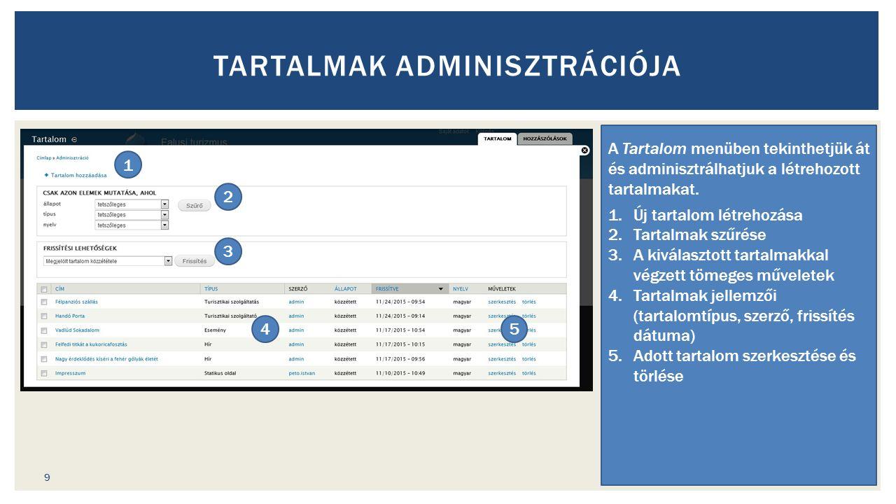 TARTALMAK ADMINISZTRÁCIÓJA A Tartalom menüben tekinthetjük át és adminisztrálhatjuk a létrehozott tartalmakat.