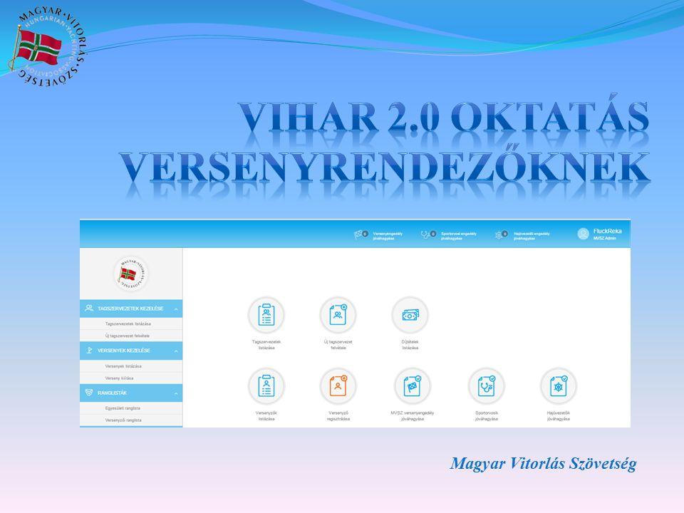 A VIHAR fejlesztésének célja  Az egyesületek, a titkárság, technikai bizottság adminisztratív feladatainak megkönnyítése.