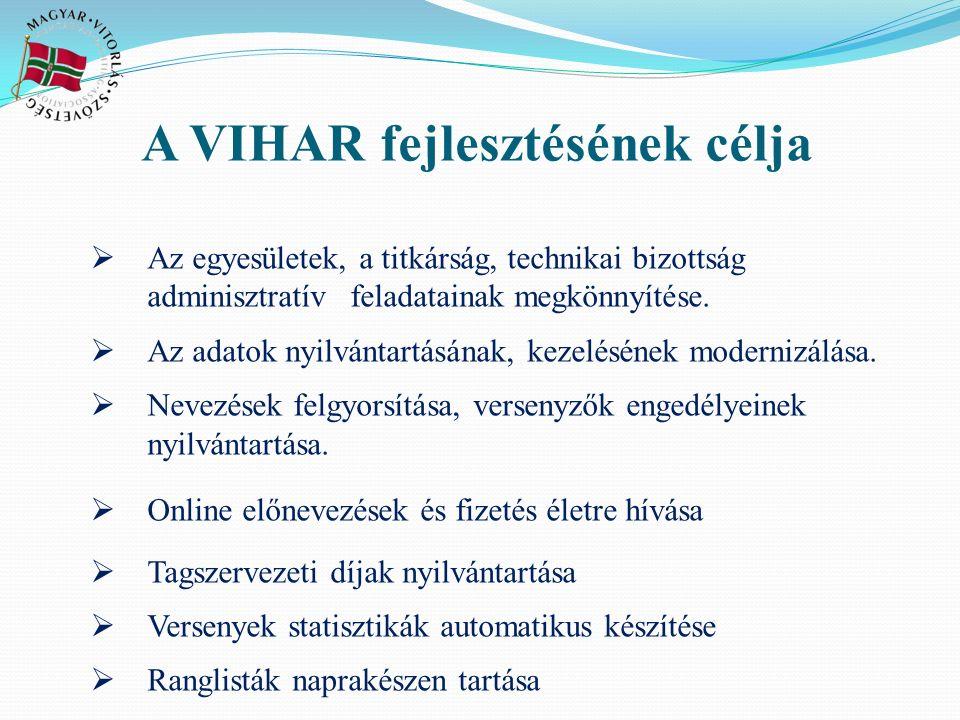 A VIHAR fejlesztésének célja  Az egyesületek, a titkárság, technikai bizottság adminisztratív feladatainak megkönnyítése.  Az adatok nyilvántartásán