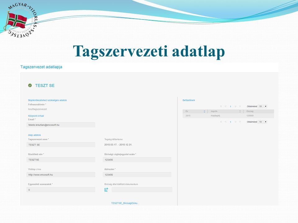 Tagszervezeti adatlap