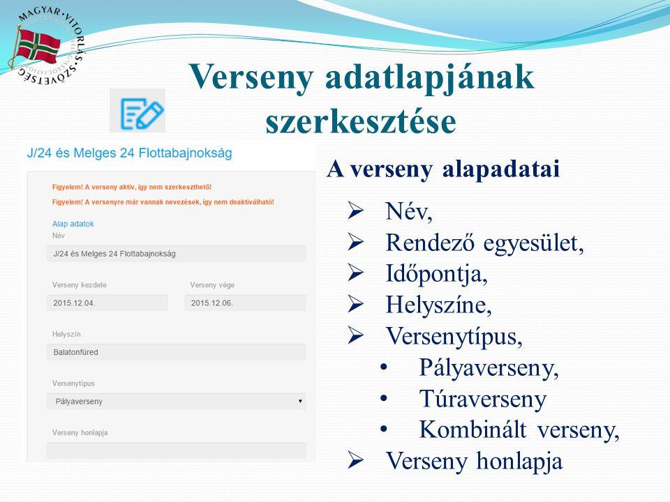 Verseny adatlapjának szerkesztése A verseny alapadatai  Név,  Rendező egyesület,  Időpontja,  Helyszíne,  Versenytípus, Pályaverseny, Túraverseny