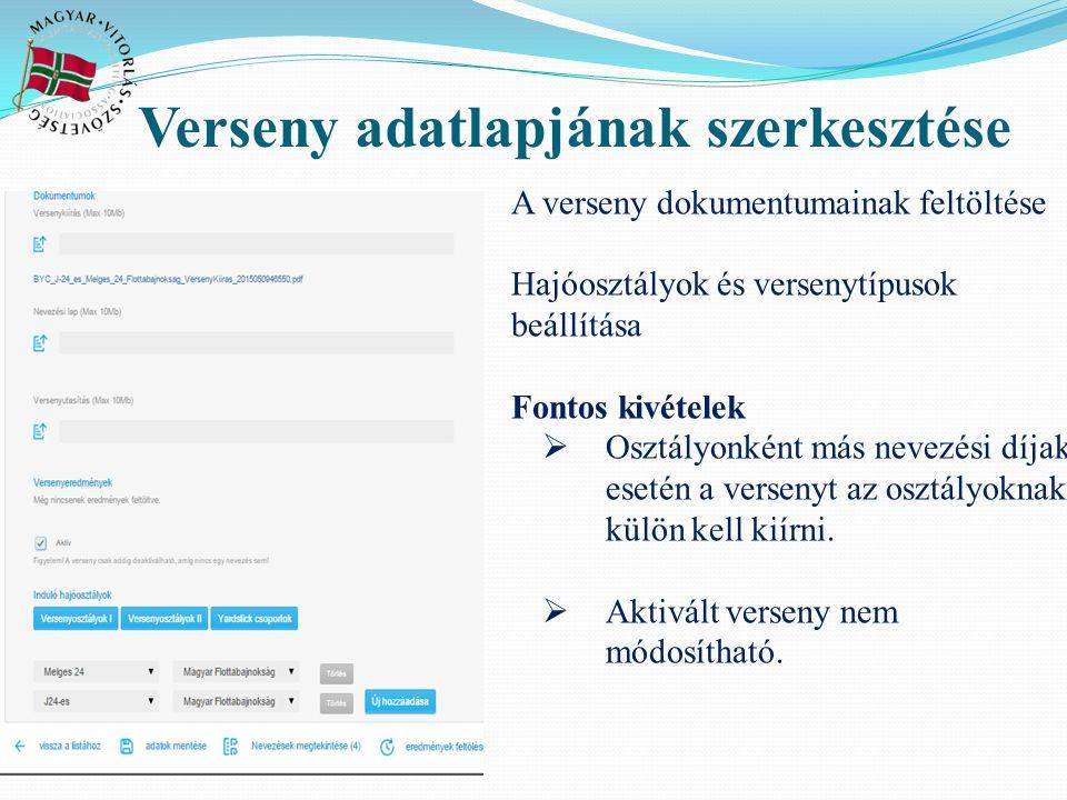 Nevezés Nevező egyesület = kormányos egyesülete Társnevező: max 2 felé oszthatóak a pontok Hajóosztály-versenykategória Vitorlaszám elé HUN felirat nem kell!!