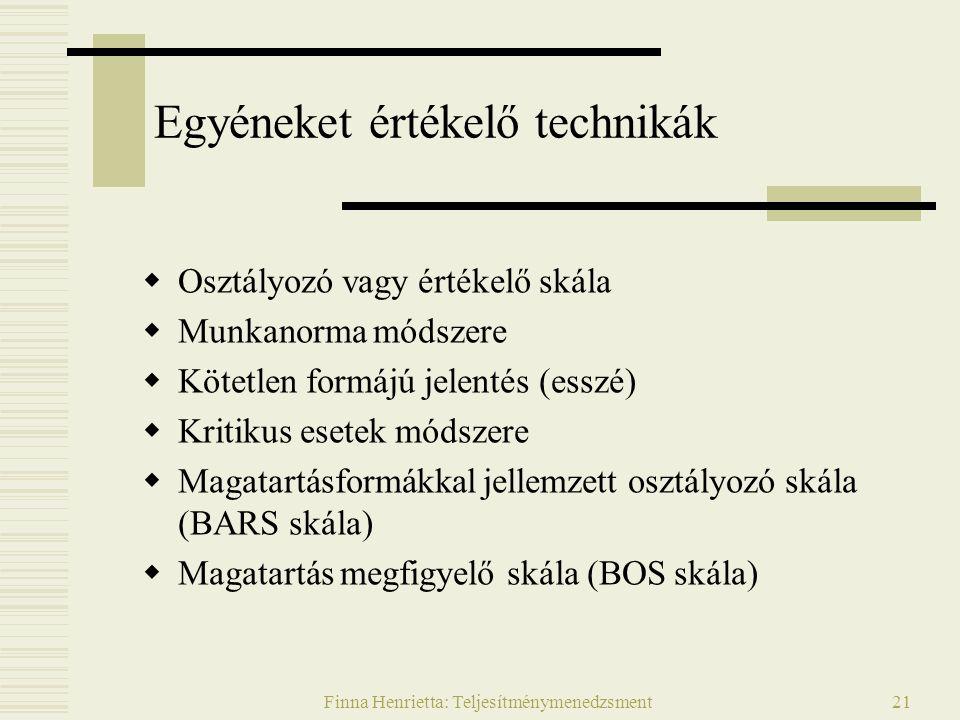 Finna Henrietta: Teljesítménymenedzsment21 Egyéneket értékelő technikák  Osztályozó vagy értékelő skála  Munkanorma módszere  Kötetlen formájú jele