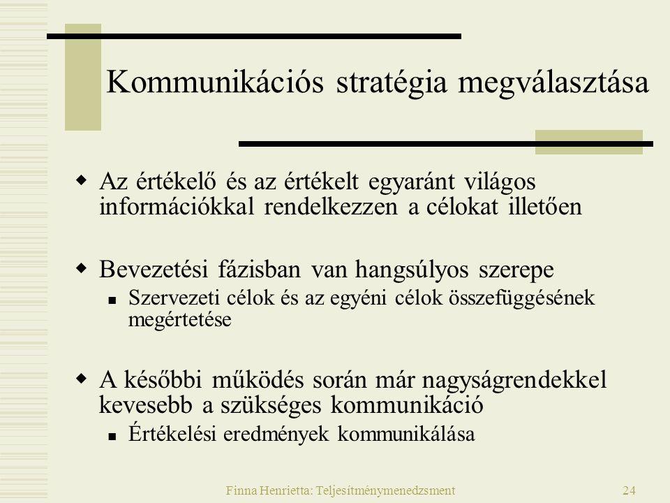 Finna Henrietta: Teljesítménymenedzsment24 Kommunikációs stratégia megválasztása  Az értékelő és az értékelt egyaránt világos információkkal rendelkezzen a célokat illetően  Bevezetési fázisban van hangsúlyos szerepe Szervezeti célok és az egyéni célok összefüggésének megértetése  A későbbi működés során már nagyságrendekkel kevesebb a szükséges kommunikáció Értékelési eredmények kommunikálása