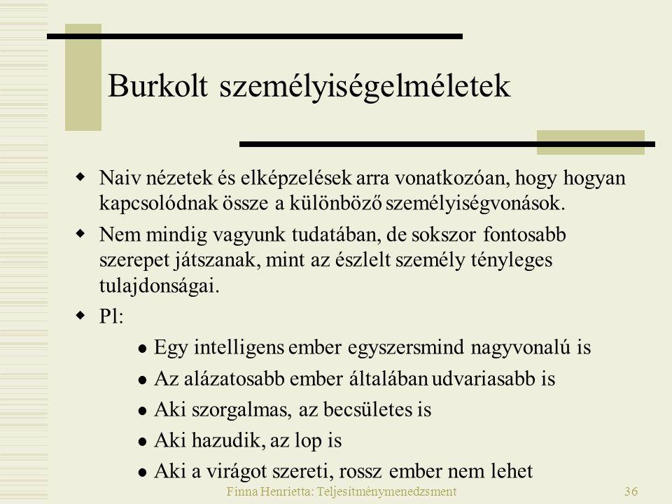 Finna Henrietta: Teljesítménymenedzsment36 Burkolt személyiségelméletek  Naiv nézetek és elképzelések arra vonatkozóan, hogy hogyan kapcsolódnak össze a különböző személyiségvonások.
