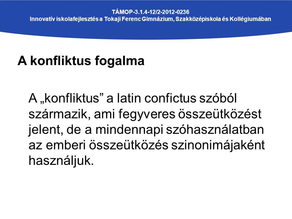 """A konfliktus fogalma A """"konfliktus a latin confictus szóból származik, ami fegyveres összeütközést jelent, de a mindennapi szóhasználatban az emberi összeütközés szinonimájaként használjuk."""