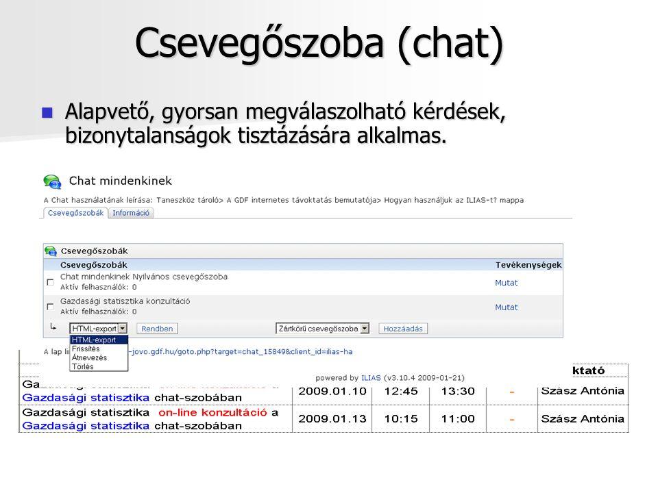 Csevegőszoba (chat) Alapvető, gyorsan megválaszolható kérdések, bizonytalanságok tisztázására alkalmas.