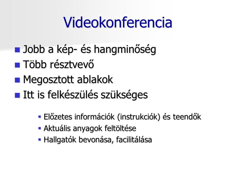 Videokonferencia Jobb a kép- és hangminőség Jobb a kép- és hangminőség Több résztvevő Több résztvevő Megosztott ablakok Megosztott ablakok Itt is felkészülés szükséges Itt is felkészülés szükséges  Előzetes információk (instrukciók) és teendők  Aktuális anyagok feltöltése  Hallgatók bevonása, facilitálása