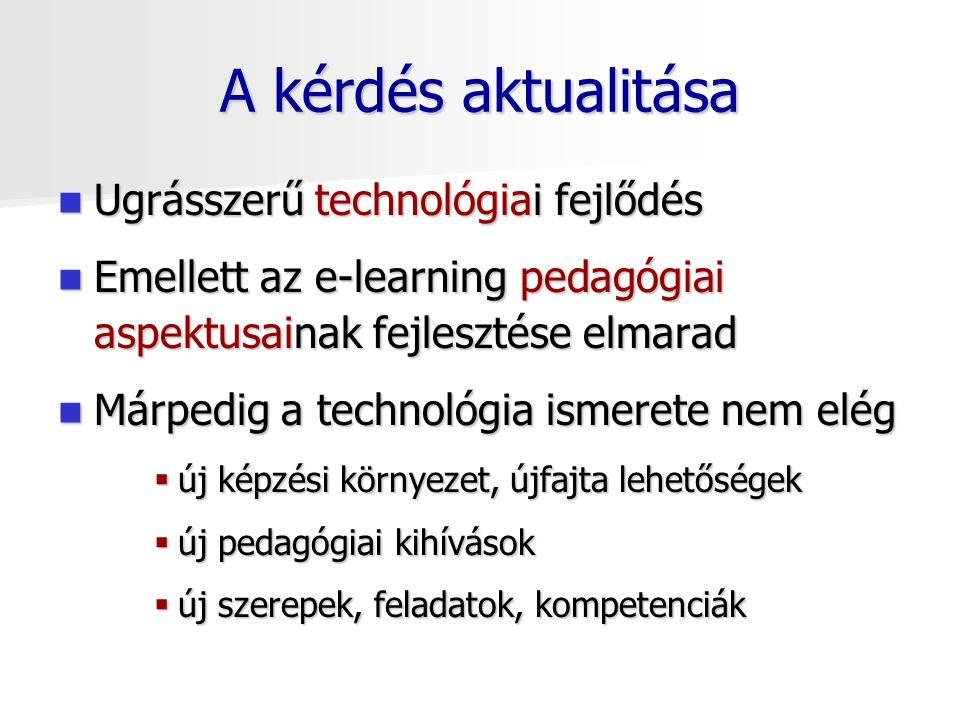 A kérdés aktualitása Ugrásszerű technológiai fejlődés Ugrásszerű technológiai fejlődés Emellett az e-learning pedagógiai aspektusainak fejlesztése elmarad Emellett az e-learning pedagógiai aspektusainak fejlesztése elmarad Márpedig a technológia ismerete nem elég Márpedig a technológia ismerete nem elég  új képzési környezet, újfajta lehetőségek  új pedagógiai kihívások  új szerepek, feladatok, kompetenciák