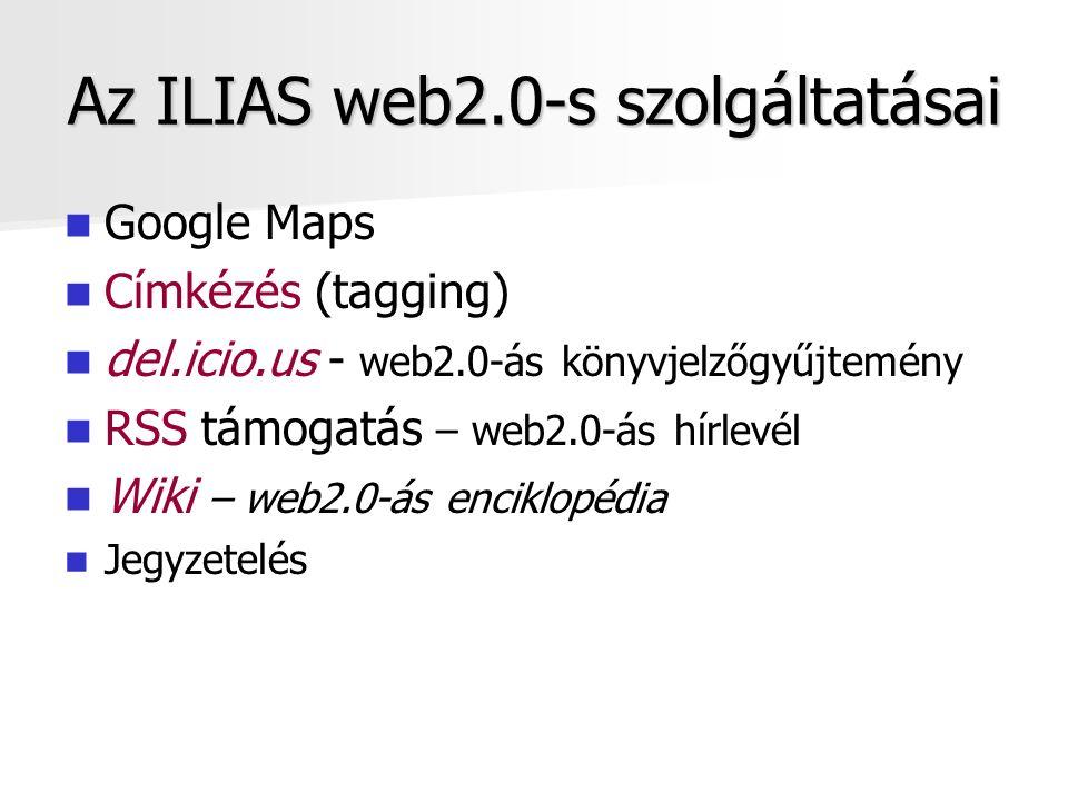 Az ILIAS web2.0-s szolgáltatásai Google Maps Címkézés (tagging) del.icio.us - web2.0-ás könyvjelzőgyűjtemény RSS támogatás – web2.0-ás hírlevél Wiki – web2.0-ás enciklopédia Jegyzetelés