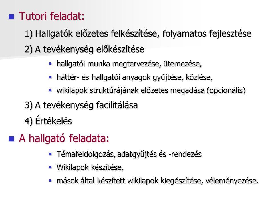 Tutori feladat: Tutori feladat: 1)Hallgatók előzetes felkészítése, folyamatos fejlesztése 2)A tevékenység előkészítése  hallgatói munka megtervezése, ütemezése,  háttér- és hallgatói anyagok gyűjtése, közlése,  wikilapok struktúrájának előzetes megadása (opcionális) 3)A tevékenység facilitálása 4)Értékelés A hallgató feladata: A hallgató feladata:  Témafeldolgozás, adatgyűjtés és -rendezés  Wikilapok készítése,  mások által készített wikilapok kiegészítése, véleményezése.