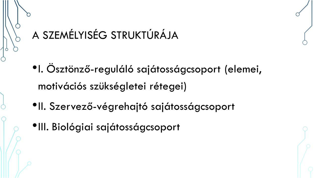 A SAJÁTOSSÁGCSOPORTOK FUNKCIÓI I.