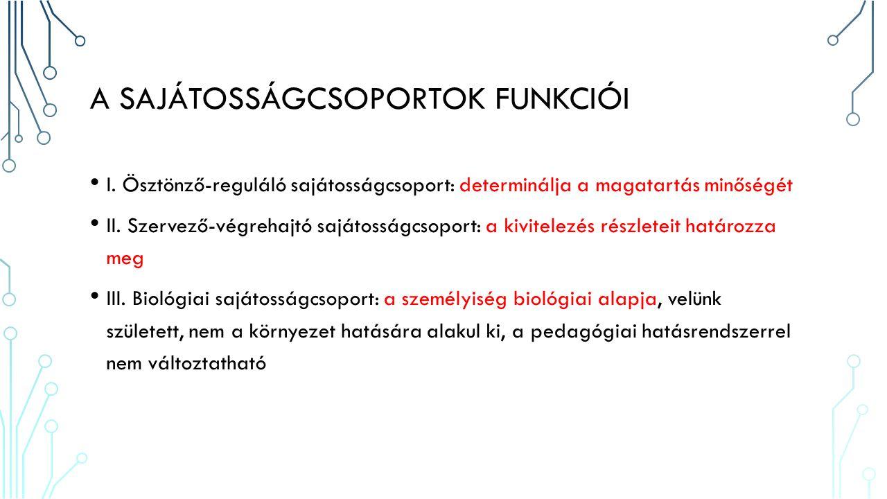 III.BIOLÓGIAI SAJÁTOSSÁGCSOPORT 1. Adottságok: a képességek pszichés alapja, diszpozíció 2.