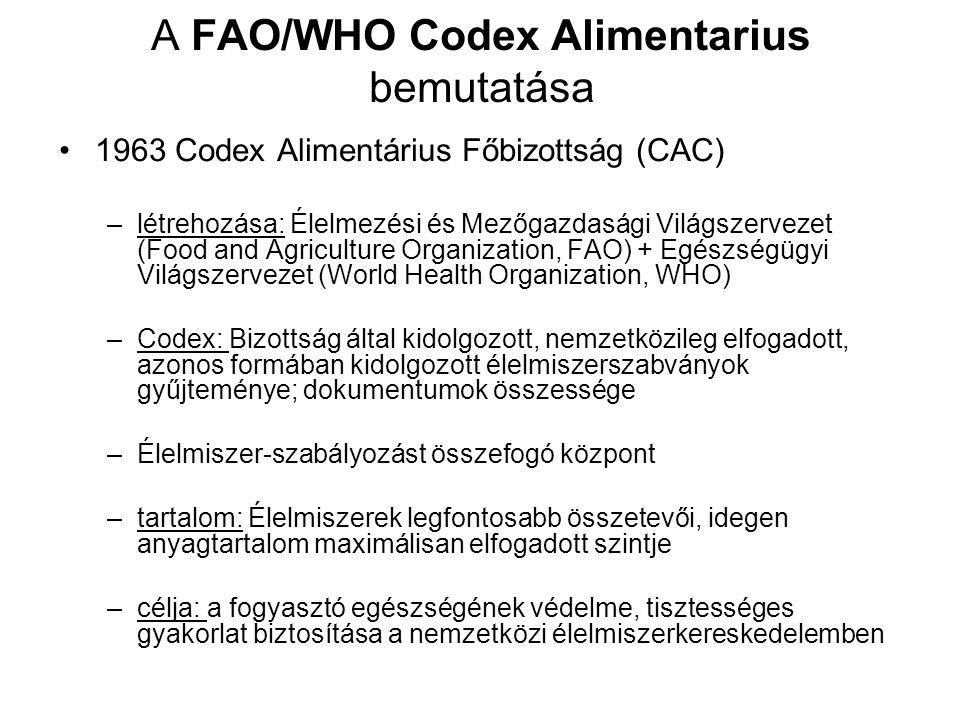 A FAO/WHO Codex Alimentarius bemutatása 1963 Codex Alimentárius Főbizottság (CAC) –létrehozása: Élelmezési és Mezőgazdasági Világszervezet (Food and A