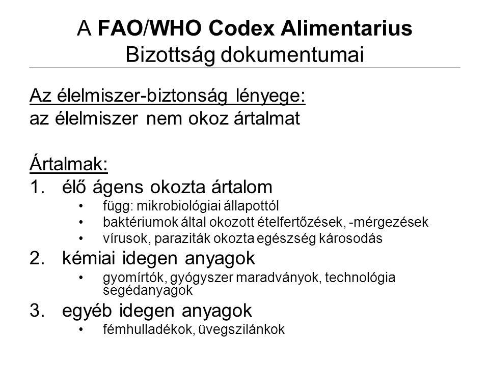 A FAO/WHO Codex Alimentarius Bizottság dokumentumai Az élelmiszer-biztonság lényege: az élelmiszer nem okoz ártalmat Ártalmak: 1.élő ágens okozta árta