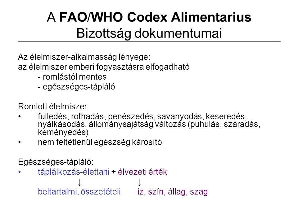 A FAO/WHO Codex Alimentarius Bizottság dokumentumai Az élelmiszer-alkalmasság lényege: az élelmiszer emberi fogyasztásra elfogadható - romlástól mente