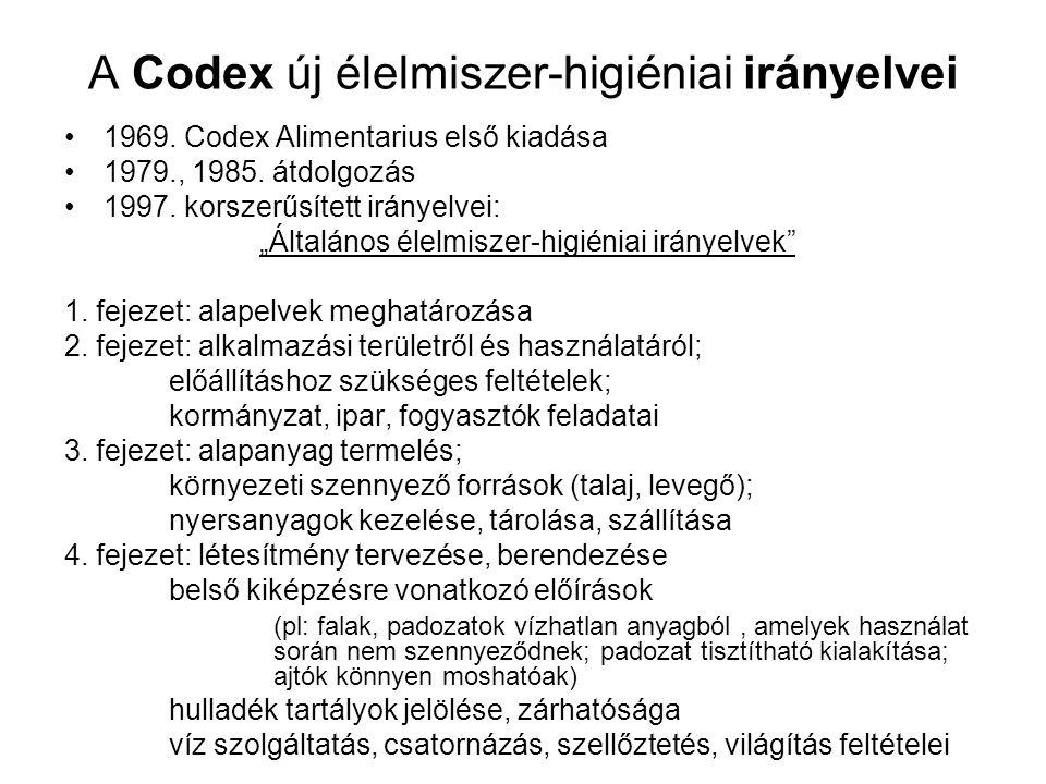 """A Codex új élelmiszer-higiéniai irányelvei 1969. Codex Alimentarius első kiadása 1979., 1985. átdolgozás 1997. korszerűsített irányelvei: """"Általános é"""
