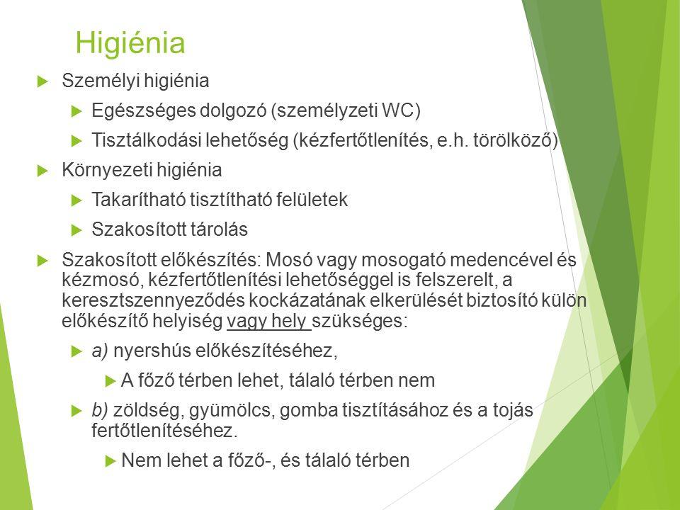Higiénia  Személyi higiénia  Egészséges dolgozó (személyzeti WC)  Tisztálkodási lehetőség (kézfertőtlenítés, e.h.