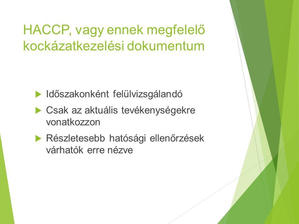 HACCP, vagy ennek megfelelő kockázatkezelési dokumentum  Időszakonként felülvizsgálandó  Csak az aktuális tevékenységekre vonatkozzon  Részletesebb hatósági ellenőrzések várhatók erre nézve