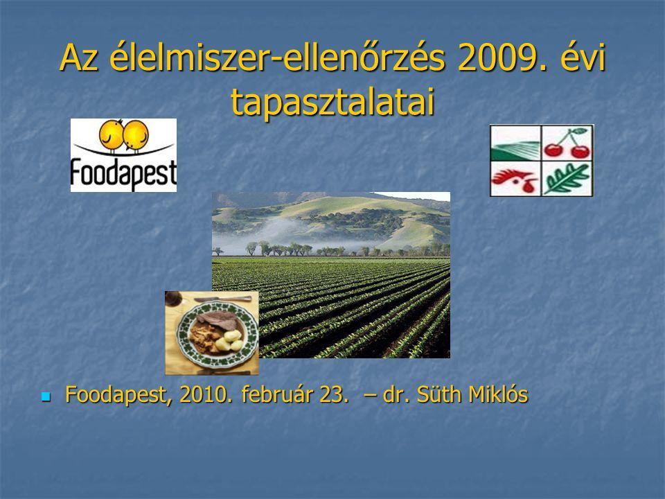 Az élelmiszer-ellenőrzés 2009. évi tapasztalatai Foodapest, 2010.