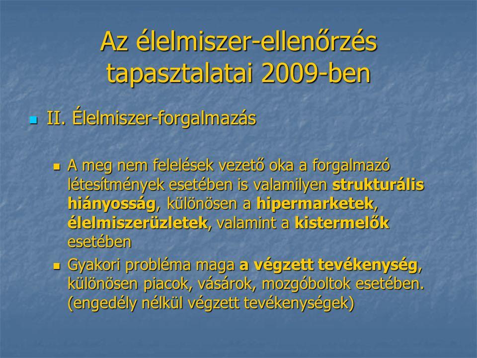 Az élelmiszer-ellenőrzés tapasztalatai 2009-ben II.