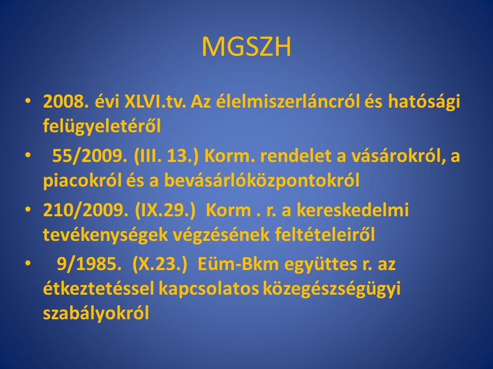 MGSZH 852/2004/EK r.(2004. április 29.) az élelmiszer-higiéniáról 853/2004/EK r.