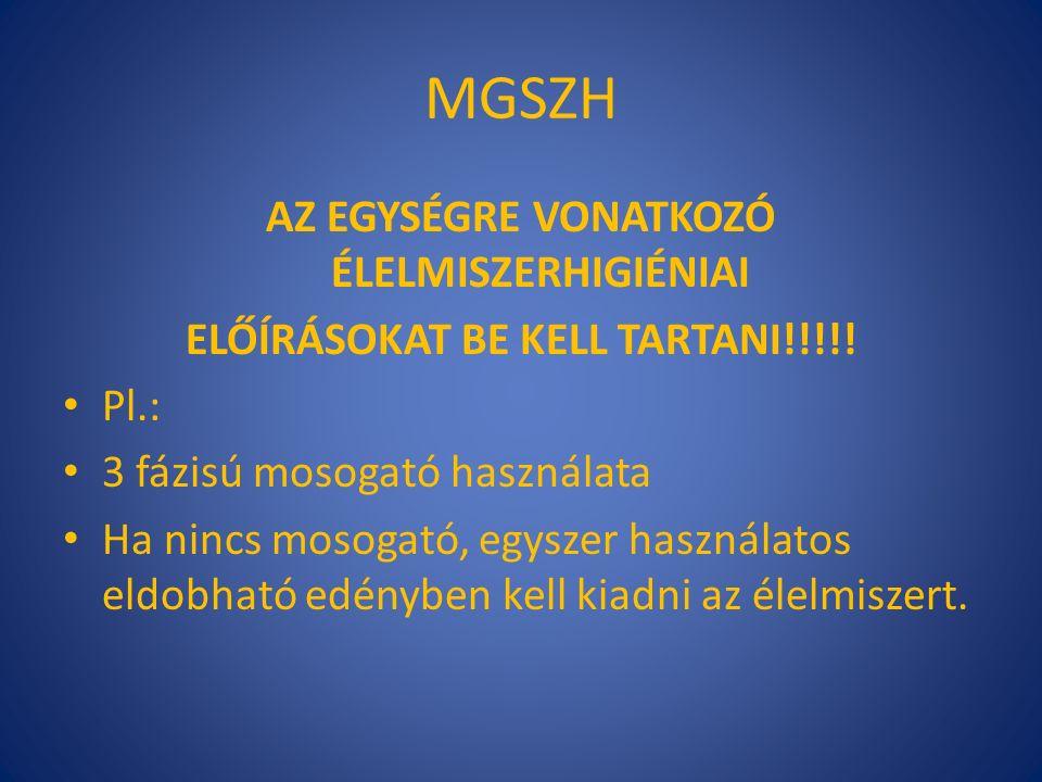 MGSZH AZ EGYSÉGRE VONATKOZÓ ÉLELMISZERHIGIÉNIAI ELŐÍRÁSOKAT BE KELL TARTANI!!!!.